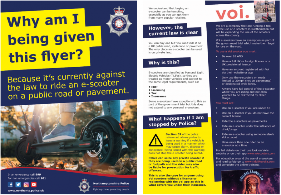 voi e-scooter safety awareness leaflet