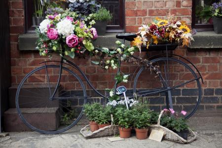 Bicycle with flowers on