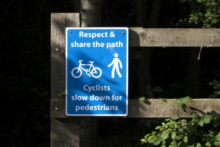 Cycling and walking share the path sign