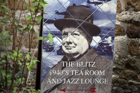 The Blitz 1940's Tea Room and Jazz Lounge Winston Churchill poster