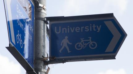 University Walking and Cycling Sign