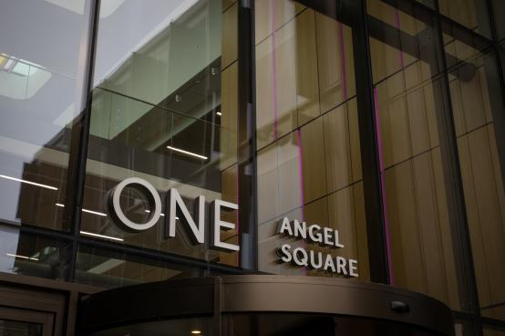Front sign of One Angel Square