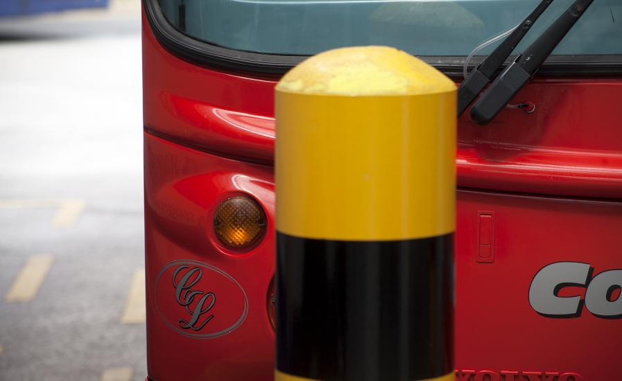 Northamptonshire bus and bollard